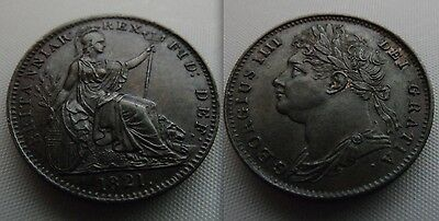 Collectable First Issue George IIII Farthing coin Date 1821, Scarce coin in EF
