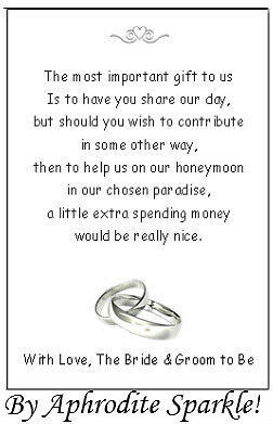 Mail For Wedding Gift Contribution : 50 Wedding Honeymoon Money request Poem Cards - Rings Design for ...