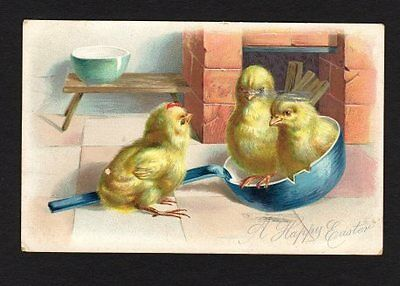 Tuck's A Happy Easter Postcard, Trio of Chicks, Blue Cooking Pan 1908