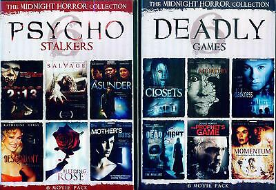 DEADLY GAMES & PSYCHO STALKERS: Midnight Horror Collection- 12 Films - NEW 4 DVD