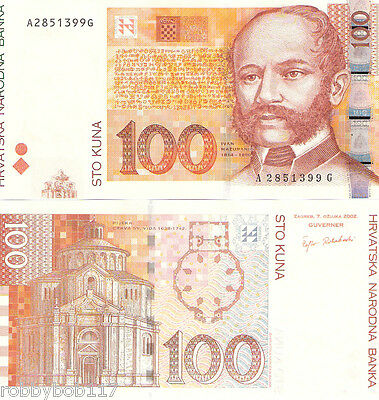 CROATIA 100 Kuna Banknote World  Money UNC Currency p41 Europe Note 2002 Bill