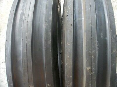 TWO 650x16, 650-16, 6.50-16 FARMALL 756  3 Rib Front Tractor Tires with Tubes