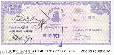 ZIMBABWE $10000 Travellers Cheque Travelers Check p17 Inflation Africa Currency
