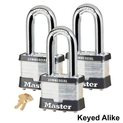 "Master Lock 2""W Padlock - 2""L Shackle (3) Keyed Alike Locks 17KALH-3"