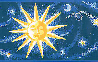 "BLUE & GOLD * STARS * SUN & MOON 9 "" EMBOSSED Wallpaper bordeR Wall"