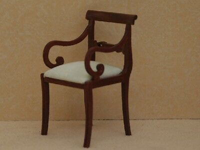 Dolls House Furniture     Carved Chair with Round Arms Walnut    RO427