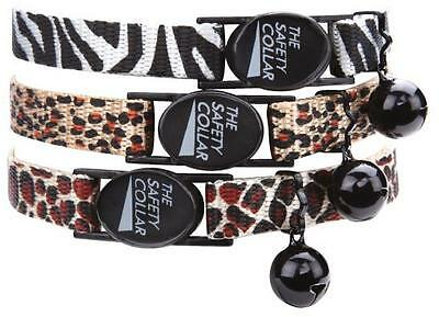 "ANIMAL PRINT CAT COLLAR - Asst Designs Safety Buckle w/ Bell 8"" - 12"" Neck"