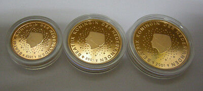 Niederlande Euro 1 Cent 2 Cent 5 Cent 2001 Beatrix Königin Pp Proof