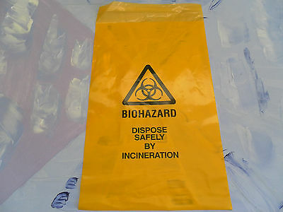 "Yellow Clinical Waste Biohazard Bags 14"" x 8"" Self Seal - Quantity 10"