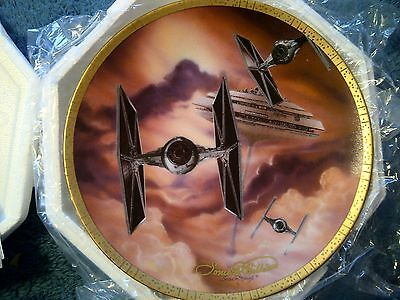 Star Wars Hamilton Plate: Tie Fighters Signed by Artist Sonia Hillios  PINK VAR
