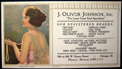 1923 Johnson Lawn Grass Seed Adv Blotter Chicago IL Fancy Woman w Flapper Pearls