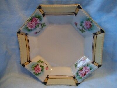 """Decorative Octagonal Plate 7"""" Handpainted  Pink Roses Fired Gold Trim Made Japan"""