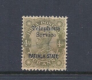 INDIA PATIALA 1935 KGV 4 anna (SG 79) VF USED (TELEPHONE SERVICE overprint)