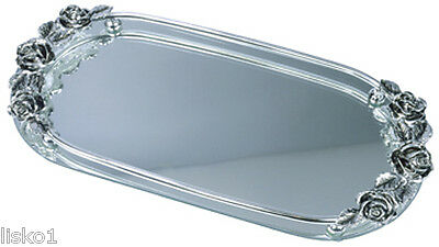 Kingsley M-20 MIRRORED VANITY JEWELRY ROSE PATTERN TRAY (SILVER)