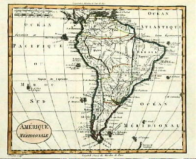 ANTIQUE MAP- SOUTH AMERICA- Blondeau-1820