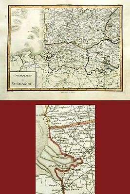 Antique Map- Government Normandy-France- 1782