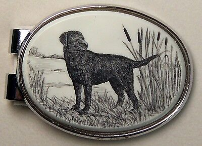 Money Clip Oval Barlow Scrimshaw Carved Painted Art Lab Labrador Dog 539516