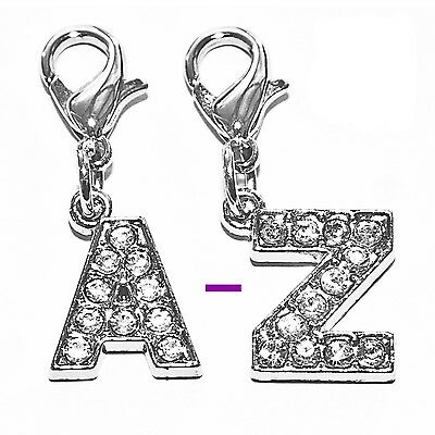 Diamante Bling Sparkly Crystal Alphabet Letter Cat Dog Collar Bag Phone Charm