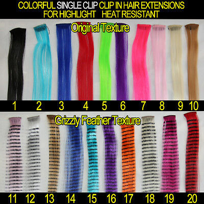 Clip in Hair Extensions Colorful Crazy Highlight Heat Resistant