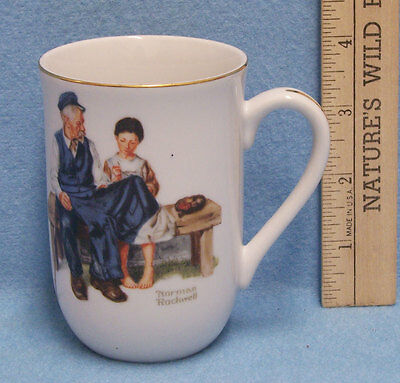 Mug Cup Norman Rockwell The Lighthouse Keeper's Daughter 1982 Girl Sewing