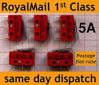 5x 5A Micro Switch Lever V4 Microswitch KW11i, 3D Printer Endstop 5GL heavy duty