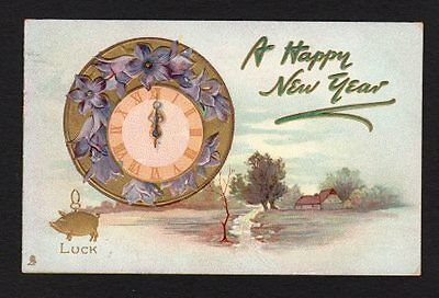 New Years Postcard Tuck's 1908 landscape, floral clock, gold good luck pig