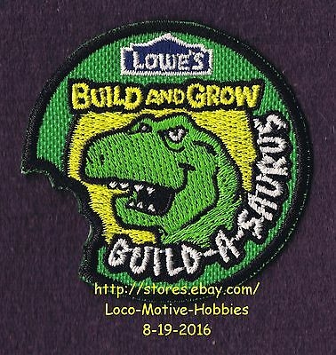 LMH PATCH Badge  2012 BUILD-A-SAURUS  Build Grow LOWES Kids Clinic DINOSAUR Bite