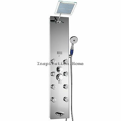 Tempered glass shower tower head & spout & functional jets panel tub