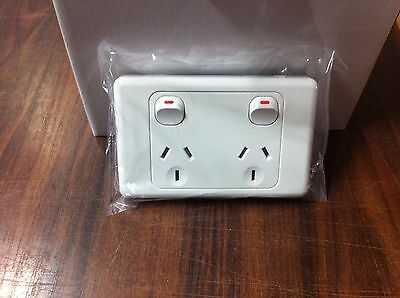 Double Electric Power Point Gpo 240 Volt Outlet Wall Switch Australian Standard