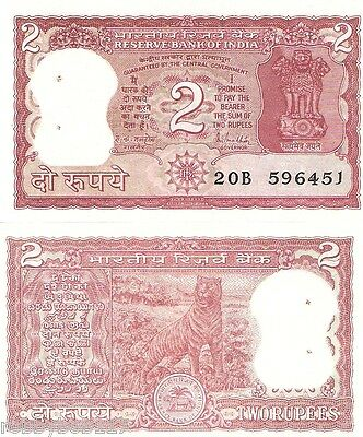 INDIA 2 rupees Banknote p53Ad UNC featuring a TIGER note has staple holes