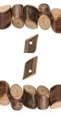 CRAFT + JEWELRY WOOD BEADS ~Diagonal Cut~Mini Wooden Logs ! Banghaw Wooden Bead