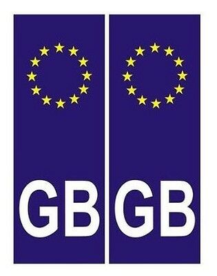 2 Pack Front / Back Euro GB Blue Number Plate Stickers Decals Waterproof NEW