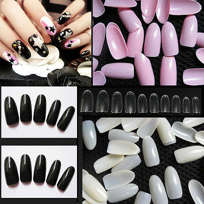 500PCS Natural False Acrylic UV Gel Full Round French Oval Nail Art Tips Tool B9
