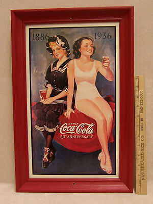 Coca Cola Reproduction Wood Framed Tin Sign Coke 50th Anniversary GIrls