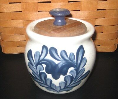Small Jar with Wooden Lid Made in Zanesville, Ohio Pottery Blue Floral Design