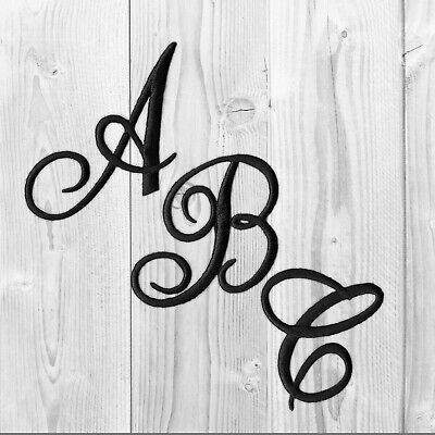 Embroidered Iron on Script Letters-White,Black Or Red-Sold Separately-USA SELLER