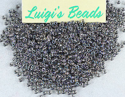 11/0 Round Toho Japan Glass Seed Beads #266- Gold Luster Crystal/Opaque Gray 10g