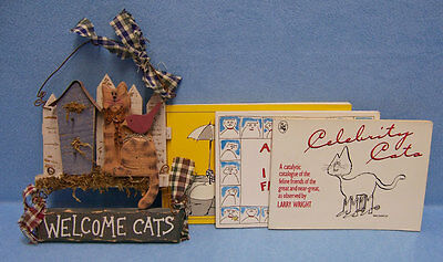Vintage Wood Welcome Cats Wall Hanging Plus 3 Paperback Books on Cats Lot of 4