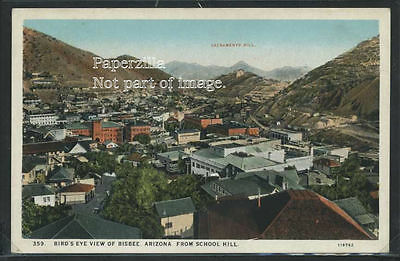 AZ Bisbee LITHOGRAPH c.1915 BIRD'S EYE VIEW from SHOOL HILL by Curt Teich & Co