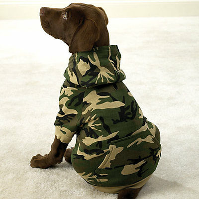 Casual Canine Camouflage Adventure Dog Hoodie Pet Camo Cotton Sweatshirt New
