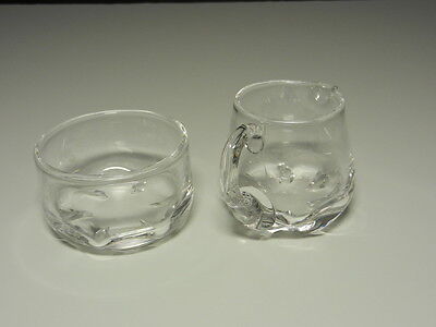 """Orrefors #1598 Mini Open Sugar Pinched Bottom Clear Crystal 2 3/8"""" T Signed"""