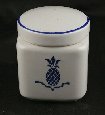 Country Blue Ceramic Canister With Pinaeapple Country Blue HII Korea 1984 l4g15
