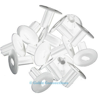 100 Double White 14Mm Hole Tidy Tv Speaker Cable Entry Grommet Wall Bushes Rg6