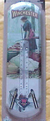 """Winchester Rifle & Ammo NostalgicTin Thermometer """"Pioneer Woman Hunter"""""""