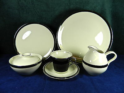 "23-Pieces (Set For 4) Of Shenango American Manor ""ebony"" Pattern Fine China"