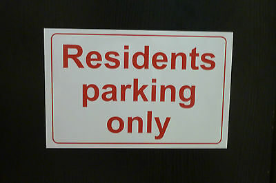 300x200mm RESIDENTS PARKING ONLY sign plastic, sticker, DRILLED car park sign no