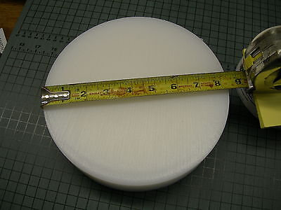 "Nylon Plastic Rod Disc Bar Sheet, 8-3/8"" Dia X 2"" Long White Color Free Shipping"