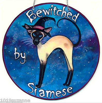 SIAMESE CAT WITCH art sign glittery wicca magic from painting by Suzanne Le  Good