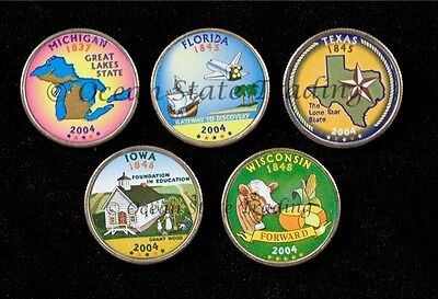 2004 Complete Set Of Colorized State Quarters - P Mint (5 Coins)