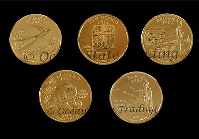 2008 Complete Set Of 24 kt Gold Plated Quarters - D Mint (5 Coins)